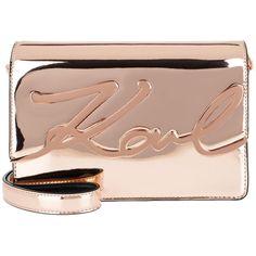 Karl Lagerfeld Shoulder Bag - K/Signature Gloss Shoulderbag Rose Gold... ($370) ❤ liked on Polyvore featuring bags, handbags, shoulder bags, rose, handbags shoulder bags, handbag purse, man shoulder bag, rose gold purse and purse shoulder bag