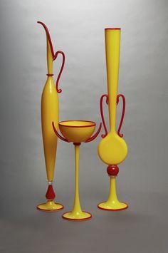 Glass, Dante Marioni, Artist, Yellow Trio, 2004, blown glass, 19 x 10 x 34 inches