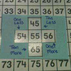 DIY for school...great tool to show one more and less as well as ten more or less - LOVE this! Tools For Teaching, Teaching Math, Teaching Ideas, Primary Teaching, Teaching Rules, Math Classroom, Kindergarten Math, Classroom Ideas, Math Stations