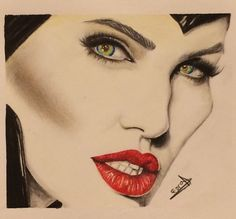 Maleficent drawing done with colored pencils