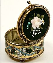 Pietra Dura Enamel Casket, Antique Grand Tour Patch Box - Signed Florence, Italy treasure!
