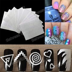 12Pcs/Set Multiple-Use Nail Art Stencil Stickers Stencil Tips Guide French Swirls Manicure Nail Art Decals Used For 3D Styling