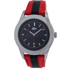 Men's Wrist Watches - Lacoste Advantage Black Dial Red and Navy Stripe Grosgrain Mens Watch 2010614 ** Check out this great product.