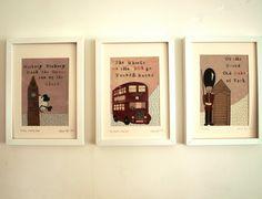 Set Of Three London Nursery Art Prints by Helena Tyce Designs $108.04