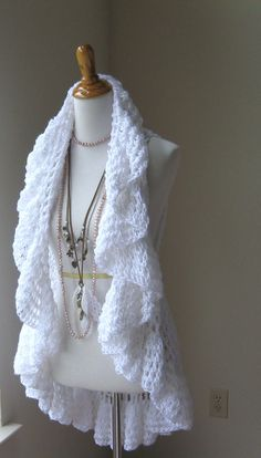 WHITE BOHO VEST Crochet Vest Sweater Poncho Scarf door marianavail, $62.00