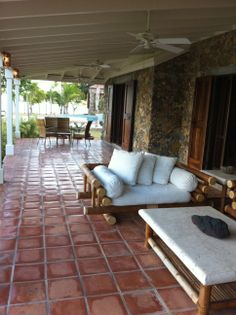 huge porch with tile floor
