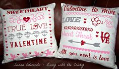 Busy with the Cricky - Valentine pillows created with Silhouette Heat Transfer Material and the Silhouette Cameo machine.
