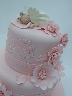 Angel asleep on cloud Pretty Cakes, Cute Cakes, Beautiful Cakes, Amazing Cakes, Fondant Figures, Fondant Cakes, Cupcake Cakes, First Communion Cakes, First Birthday Cakes