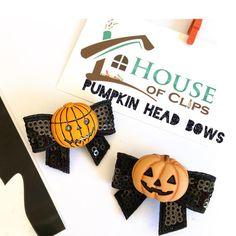 Halloween Hair Clips, Halloween Bows, Halloween Gifts, Liz Smith, Pumpkin Head, Cellophane Bags, Gifts For Girls, Hair Bows, Little Girls
