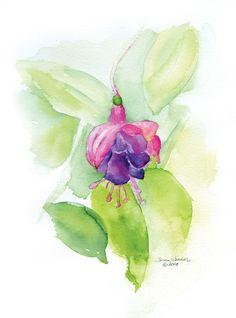 Fuschia Flower Watercolor