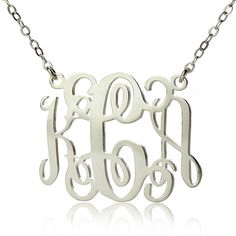 3 Initials Sterling Silver Monogram Necklace Personalized Monogrammed Nameplate Necklace Letter Jewelry on Etsy, $20.99