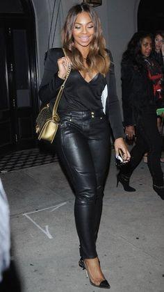 Celebrities In Leather: Ashanti wears black leather pants