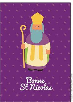 #Carte #SaintNicolas #stNicolas Carte Bonne Saint Nicolas sur fond violet pour envoyer par La Poste, sur Merci-Facteur !