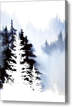 Forest Indigo Painting by Teresa Ascone - Forest Indigo Fine Art Prints and Posters for Sale Watercolor Trees, Watercolor Landscape, Watercolor Paintings, Tattoo Watercolor, Space Watercolor, Watercolor Water, Watercolours, Illustration, Art Graphique