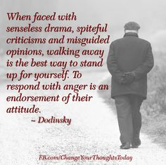 """""""When forced with senseless drama, spiteful criticisms and misguided opinions, walking away is the best way to stand up for yourself. To respond with anger is an endorsement of their attitude."""" - Dodinsky"""