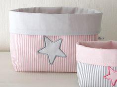 Utensilo - Utensilo, Stoffkorb rosa und grau mit Stern - ein Designerstück von Le-Petit-Villa bei DaWanda