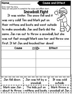 FREE Cause and Effect Passages & Printables 2nd Grade Activities, 2nd Grade Worksheets, Reading Activities, Reading Skills, Teaching Reading, Guided Reading, Teaching Ideas, Learning, First Grade Reading Comprehension