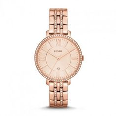 Fossil 'Jacqueline' Crystal Bezel Bracelet Watch, available at Stainless Steel Watch, Stainless Steel Bracelet, Bracelet Cuir, Bracelet Watch, Fossil Jacqueline, Rose Watch, Authentic Watches, Rose Gold Watches, Fossil Watches