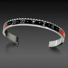 Speedometer Official Bracelet- Marine Steel, Black/Red