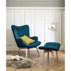 Fauteuil scandinave en tissu bleu pétrole | Maisons du Monde