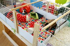homemade guinea pig enclosure incorporating recycled and reusable materials.