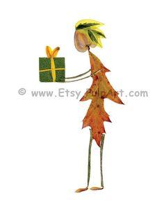 Petal People greeting card - Digital print of pressed flower art - Birthday gift - Made of pressed flowers, herbs & leaves - Gift card