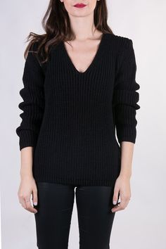 the Raglan V in Black knitted sweater V neck by videoclothing