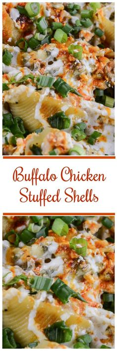 Buffalo Chicken Stuffed Shells combine the spicy flavor of buffalo chicken wings and the creamy, cheesy goodness of melted mozzarella, and salty blue cheese all stuffed into cute convenient pasta shel (Bake Pasta Shells) Pasta Recipes, Chicken Recipes, Dinner Recipes, Cooking Recipes, Healthy Recipes, Chicken Meals, Noodle Recipes, Meat Recipes, Healthy Meals