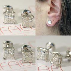 #jewelry #earrings #studearrings #diamondearring #squarediamond #uniqueearring #bridalearring #weddingearring #screwbackearring #fineearring #2caratdiamond #genuinediamond #engagementearring #solitaireearring #diamondstud #bridesmaidearring