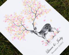 """20X28"""" Hand Drawn Fingerprint Wedding deer Tree, Thumb Print Guest Book,wedding guest book alternative, guest book fingerprint tree, D003 on Etsy, $95.00"""