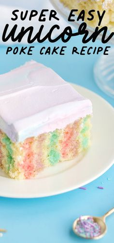 This Super Easy Unicorn Poke Cake Recipe is perfect for a fast fun ( but impressive looking ) treat! Easy to follow instructions make this cake a party winner.