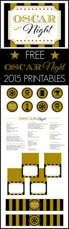 Free 2015 Oscar Night party printables including an Oscar ballot! Now you can watch the Academy Awards and celebrate with a party! See more party ideas at CatchMyParty.com.