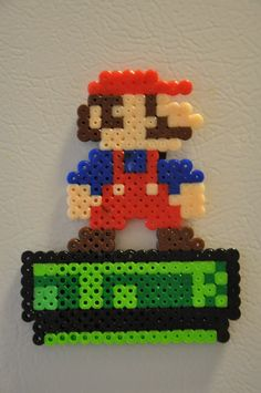 Mario on a Pipe Beadsprite Magnet
