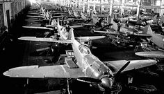 Russian Lavochkin La-5 fighters on the assembly line (1943). This airplane was built in Moscow and Yaroslav.