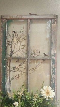 Deco fenetre projects to try old window crafts, old window p Old Window Crafts, Old Window Projects, Old Window Ideas, Diy Projects, Old Window Art, Old Windows Painted, Vintage Windows, Painted Window Art, Painting On Glass Windows