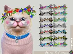 [PETS] flowers headpiece for catstandalone /14 colors / new mesh by me / find at hat / need sims 4 pets expansion packMediafire download OR Baidu download