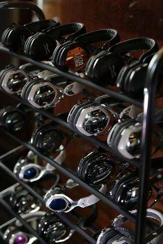 V-moda headphones rack. #dj #djculture #headphones #cans http://www.pinterest.com/TheHitman14/headphones-microphones-%2B/