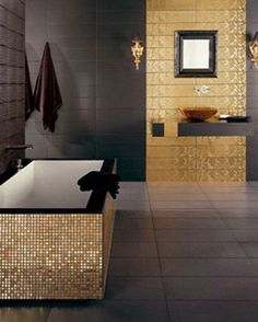 amazing black and gold bathroom