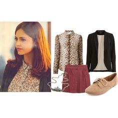 Clara Oswald by roseunspindle on Polyvore featuring RED Valentino, VILA, Les Prairies de Paris, Charlotte Russe, blazer, LeopardPrint and ClaraOswald