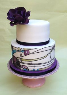 ArtNouveau style cake inspired by the great Charles Rennie Mackintosh