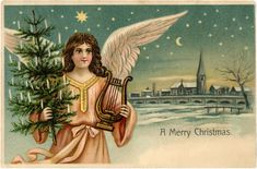 1909 Christmas Postcard Angel Tree with Candles Harp Moon Stars Snow Village Christmas Tree Clipart, Christmas Graphics, Christmas Angels, Christmas Postcards, Christmas Trees, Christmas Cards, Mary Christmas, German Christmas, Christmas Decor