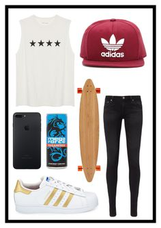 """""""#526 skater girl"""" by xjet1998x ❤ liked on Polyvore featuring AG Adriano Goldschmied, adidas, Long Days Longboards and adidas Originals"""