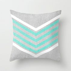 Teal and White Chevron on Silver Grey Wood Throw Pillow by Tangerine-Tane - $20.00