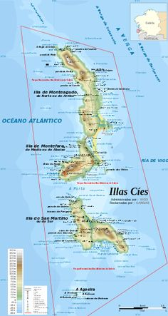 The Cíes Islands are an archipelago off the coast of Pontevedra in Galicia (Spain), in the mouth of the Ría de Vigo. They belong to the parish of San Francisco de Afora, in the municipality of Vigo. They were declared a Nature Reserve in 1980 and are included in the Atlantic Islands of Galicia National Park (Parque Nacional Marítimo-Terrestre das Illas Atlánticas de Galicia) created in 2002.