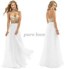 2014 Free Shipping Sexy White Chiffon Long Prom Dresses With Gold Beaded 2014 New Fashion Women Evening Dress Party Prom Gowns $132.00