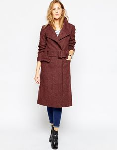 Image 1 ofASOS Coat in Funnel Neck in Tweed
