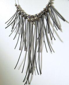 Silver Tone Zipper Graded Bib Statement Necklace With Metal