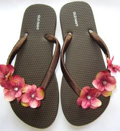"""The """"Jennifer"""" White Flip Flop Sandal with Pink flowers - great for beach - bride - wedding - bridesmaid gift $20.00"""
