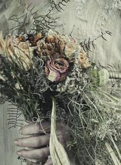 Dead flowers are so creepy, but they're the perfect accompaniment to poor Miss Havisham's gothic wedding scene.
