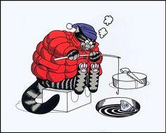 *ice fishing kliban cat
